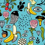 Seamless colorful pattern with black head bird and bananas. Vector endless background. Creative illustration Stock Photos