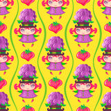 Seamless colorful pattern with Blackberry fruit girl. Vector background stock illustration