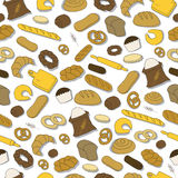 Seamless colorful pattern with bread. Hand Drawn seamless pattern with bread and cakes Stock Photos