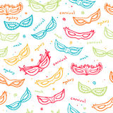 Seamless colorful pattern with carnival masks Stock Image
