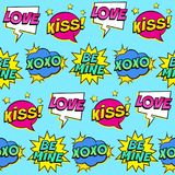 Seamless colorful pattern with comic speech bubbles patches on blue background. Royalty Free Stock Photo