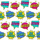 Seamless colorful pattern with comic speech bubbles patches on white background. Stock Photos