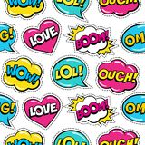 Seamless colorful pattern with comic speech bubbles patches on white background. Royalty Free Stock Image