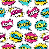 Seamless colorful pattern with comic speech bubbles patches on white background. Stock Photo