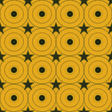 Seamless Colorful Pattern Created from Circles, Dots and Stars Stock Image