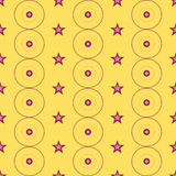 Seamless Colorful Pattern Created from Circles, Dots and Stars Royalty Free Stock Image