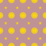 Seamless Colorful Pattern Created from Circles and stars Royalty Free Stock Photos