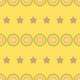 Seamless Colorful Pattern Created from Circles and stars Stock Image
