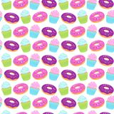 Seamless colorful pattern with donuts and cupcakes on white background. Vector illustration Royalty Free Stock Photos