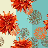 Seamless colorful pattern with georgina flowers Stock Photos