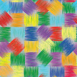 Seamless colorful pattern with grunge  striped squares Stock Photos