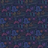 Seamless colorful pattern with Halloween themed Stock Photography