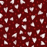 Seamless colorful pattern with hand drawing hearts. Vector cute holiday background. Valentine`s day Stock Illustration