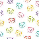 Seamless colorful pattern with panda bear. Vector illustration. Royalty Free Stock Images
