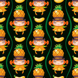 Seamless colorful pattern with Pineapple fruit girl. Vector background vector illustration