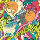 Seamless colorful pattern with red cats, toys, ornaments stock illustration