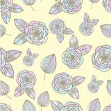 Seamless colorful pattern with roses and leaf hand. Seamless colorful pastel pattern with roses and leaf hand drawn Royalty Free Stock Photography
