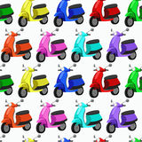 Seamless colorful pattern with scooters. Royalty Free Stock Photos