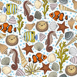 Seamless colorful pattern with sea background Stock Photo