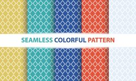 Seamless colorful pattern set. Diamond line shape, abstract back. Seamless colorful pattern set. Diamond line shape, abstract flat design background royalty free illustration