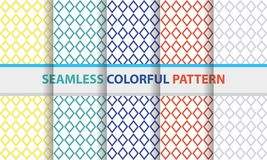Seamless colorful pattern set. Diamond line shape, abstract back. Seamless colorful pattern set. Diamond line shape, abstract flat design background vector illustration