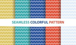 Seamless colorful pattern set. Zig-zag line shape, abstract back. Seamless colorful pattern set. Zig-zag line shape, abstract flat design background Royalty Free Stock Photo