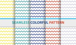 Seamless colorful pattern set. Zig-zag line shape, abstract back. Seamless colorful pattern set. Zig-zag line shape, abstract flat design background stock illustration
