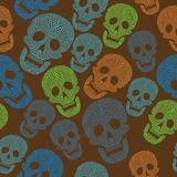 Seamless colorful pattern with skull Royalty Free Stock Photos
