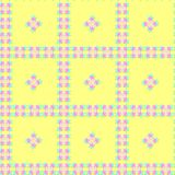Seamless colorful pattern of stars and round shapes in blue, pink, gray colors with shadow, yellow background. Flat design vector. Vector illustration, EPS10 royalty free illustration