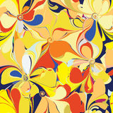 Seamless colorful pattern with stylized flowers. In yellow,orange,blue colors Royalty Free Stock Photo
