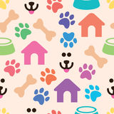 Seamless and colorful pet pattern, vector  Stock Image