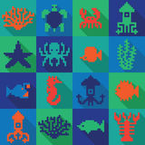 Seamless colorful pixel deep sea pattern Stock Image