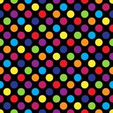 Seamless colorful polka dot pattern on black. Vector illustration. Eps 10 Royalty Free Stock Image