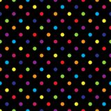 Seamless colorful polka dot pattern on black. Vector illustration. Eps 10 Royalty Free Stock Photo