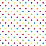 Seamless colorful polka dot pattern on white. Vector illustration. Eps 10 Royalty Free Stock Photos
