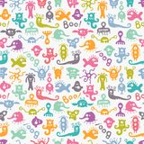 Seamless colorful print with funny monsters. Royalty Free Stock Photos