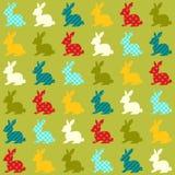 Seamless colorful rabbits pattern. Seamless colorful rabbits background with geometric pattern Royalty Free Illustration
