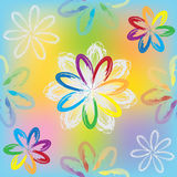 Seamless colorful rainbow pattern with abstract flowers Stock Photos