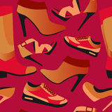Seamless colorful retro background with shoes in flat simple design. Vector pattern of collection Fashion and Beautiful shoes - Illustration Stock Photos