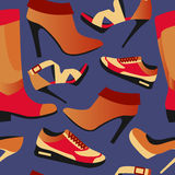 Seamless colorful retro background with shoes in flat simple design. Vector pattern of collection Fashion and Beautiful shoes - Illustration Royalty Free Stock Image