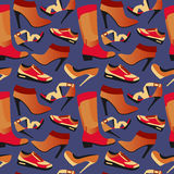 Seamless colorful retro background with shoes in flat simple design. Vector pattern of collection Fashion and Beautiful shoes - Illustration Stock Image