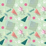 Seamless colorful retro pattern of youth. Light green background. Memphis Stock Image