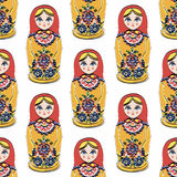 Seamless colorful retro Russian Doll illustration Stock Photography