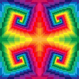 Seamless Colorful Spirals of the Rectangles. Optical Illusion of Perspective. Geometrical Polygonal Pattern. Stock Photo