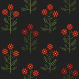 Seamless colorful stylized graphical chamomile red flower pattern texture element.  Royalty Free Stock Photo