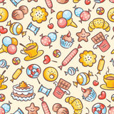 Seamless colorful sweets pattern Stock Photos