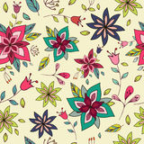 Seamless colorful texture with bright floral elements. Royalty Free Stock Image