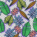 Seamless  Colorful tropical pattern of exotic leaves. On geometric dot background Royalty Free Stock Photos