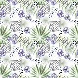 Seamless colorful tropical pattern. Leaves of a palm tree, flowers white background . Colorful pattern Royalty Free Stock Image