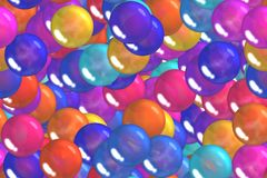 Seamless colorful ultramarine spheres and bubbles celebratory pattern Stock Photo